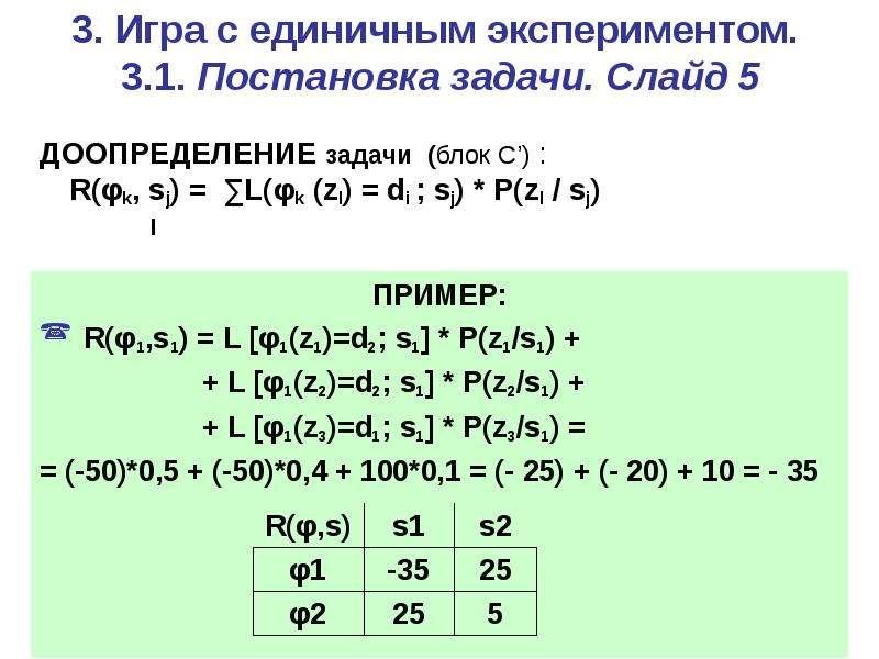 3. Игра c единичным экспериментом. 3. 1. Постановка задачи. Слайд 5 ДООПРЕДЕЛЕНИЕ задачи (блок С') :