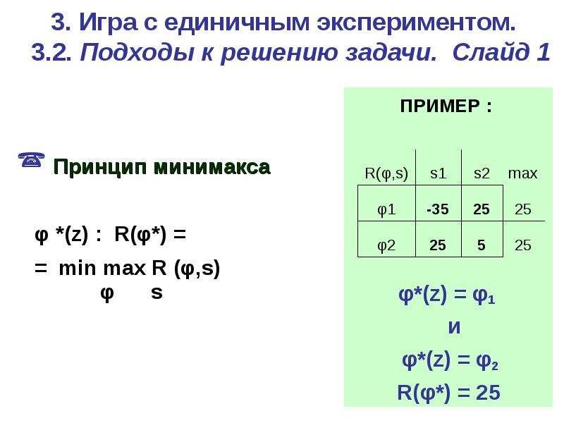3. Игра c единичным экспериментом. 3. 2. Подходы к решению задачи. Слайд 1 Принцип минимакса φ *(z)