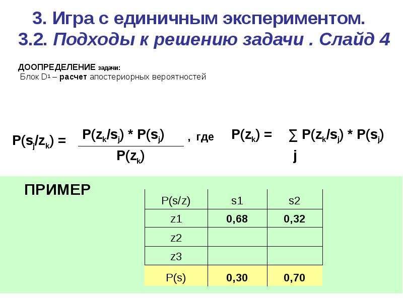 3. Игра c единичным экспериментом. 3. 2. Подходы к решению задачи . Слайд 4 ДООПРЕДЕЛЕНИЕ задачи: Бл