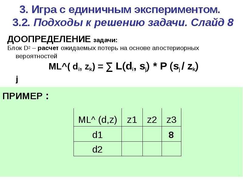 3. Игра c единичным экспериментом. 3. 2. Подходы к решению задачи. Слайд 8 ДООПРЕДЕЛЕНИЕ задачи: Бло