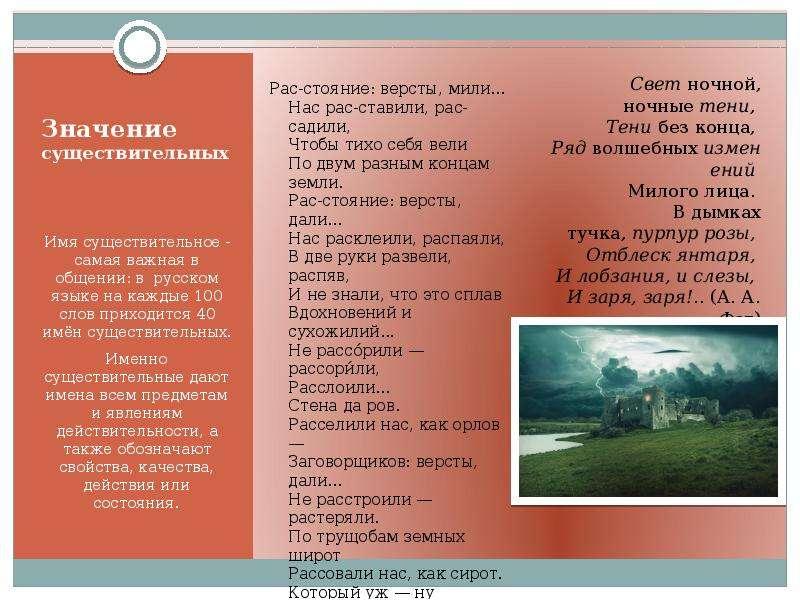 Значение существительных Имя существительное - самая важная в общении: в русском языке на каждые 100