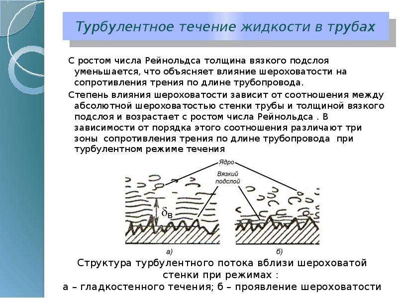 Турбулентное течение жидкости в трубах С ростом числа Рейнольдса толщина вязкого подслоя уменьшается