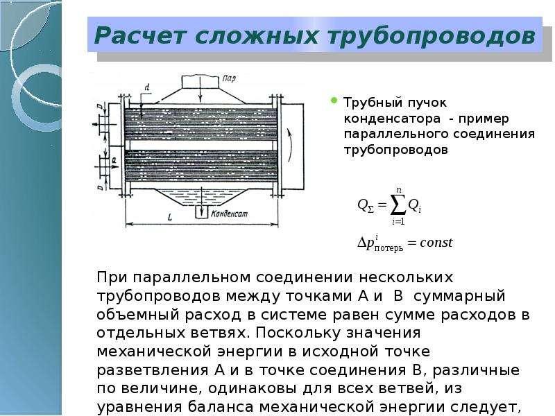 Расчет сложных трубопроводов Трубный пучок конденсатора - пример параллельного соединения трубопрово