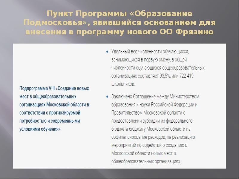 Пункт Программы «Образование Подмосковья», явившийся основанием для внесения в программу нового ОО Ф