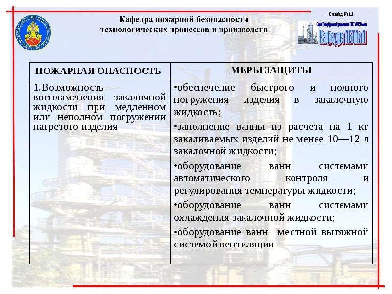 Обеспечение пожарной безопасности технологий машиностроительных производств, слайд 11