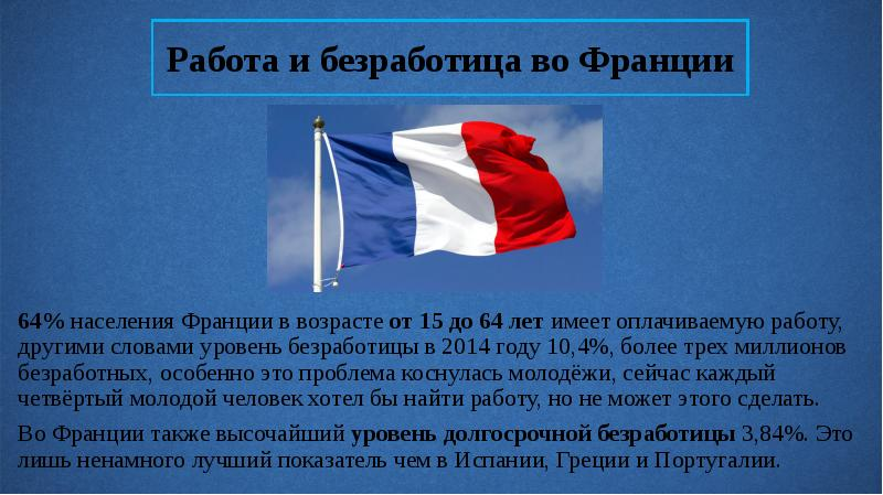 Работа и безработица во Франции 64% населения Франции в возрасте от 15 до 64 лет имеет оплачиваемую