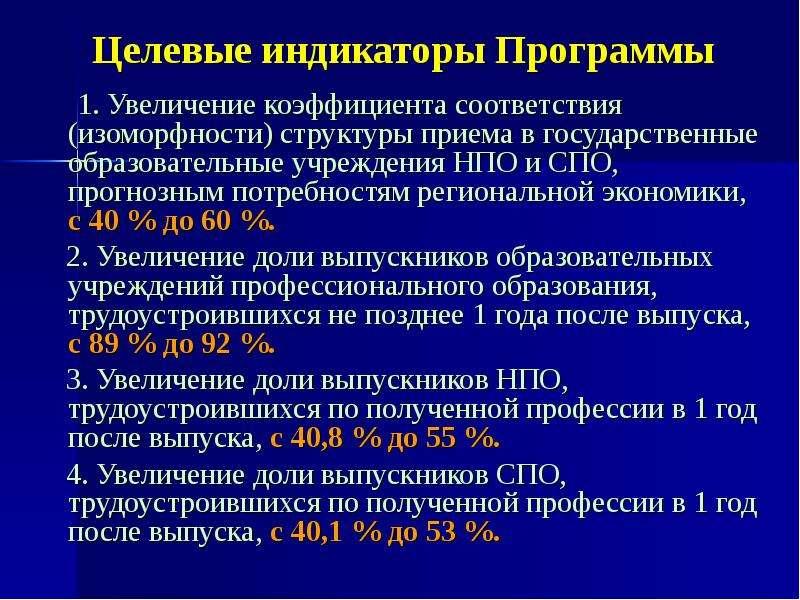 Целевые индикаторы Программы 1. Увеличение коэффициента соответствия (изоморфности) структуры приема