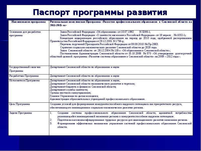 Паспорт программы развития