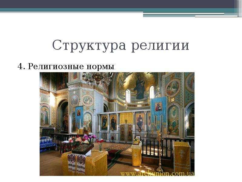 Структура религии 4. Религиозные нормы