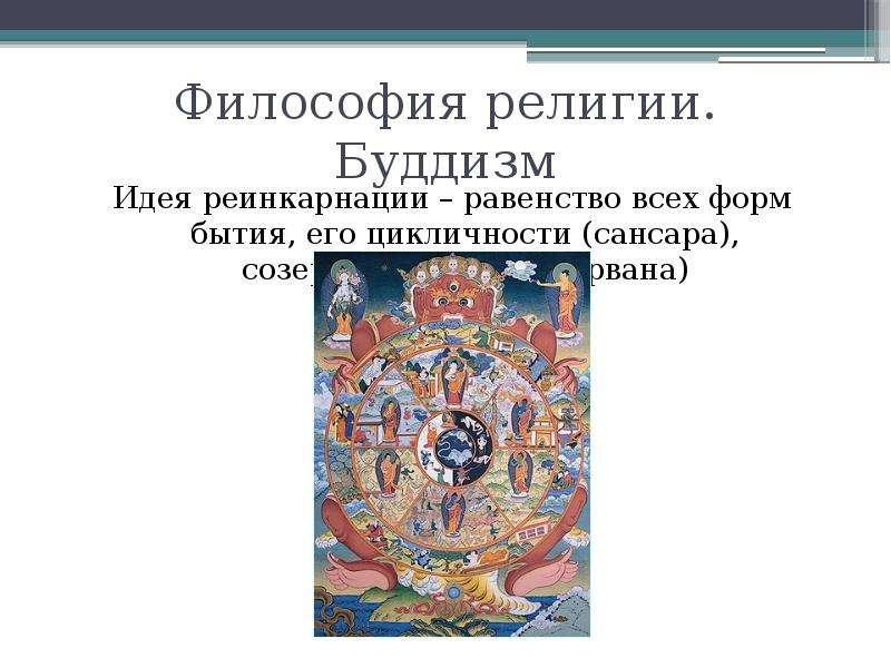 Философия религии. Буддизм Идея реинкарнации – равенство всех форм бытия, его цикличности (сансара),