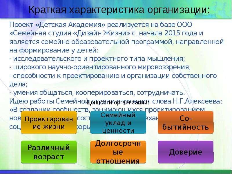 Проект «Детская Академия» реализуется на базе ООО «Семейная студия «Дизайн Жизни» с начала 2015 года