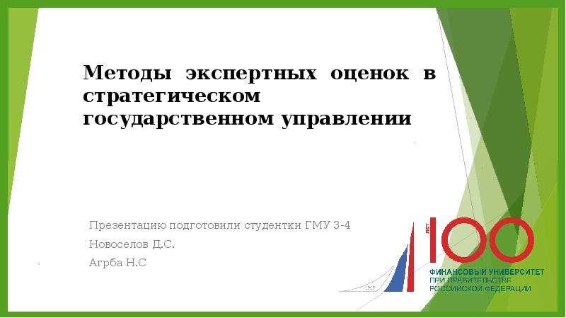 Презентация Методы экспертных оценок в стратегическом государственном управлении