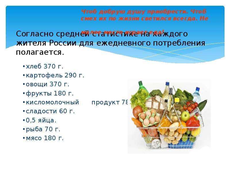 Согласно средней статистике на каждого жителя России для ежедневного потребления полагается.