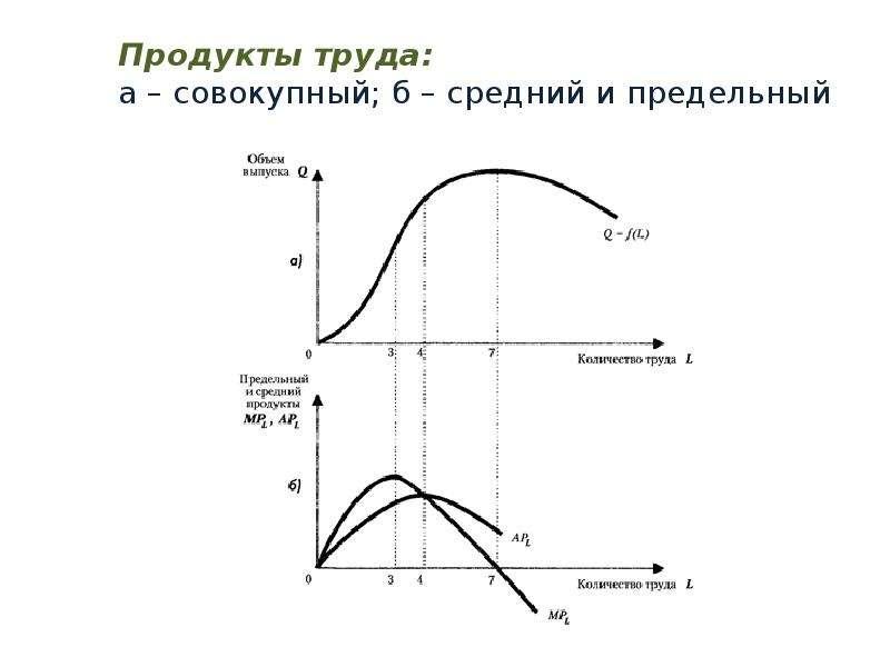Продукты труда: а – совокупный; б – средний и предельный