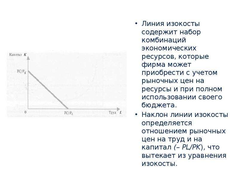 Линия изокосты содержит набор комбинаций экономических ресурсов, которые фирма может приобрести с уч