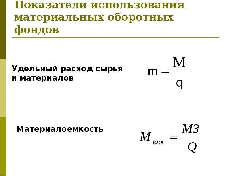Показатели использования материальных оборотных фондов