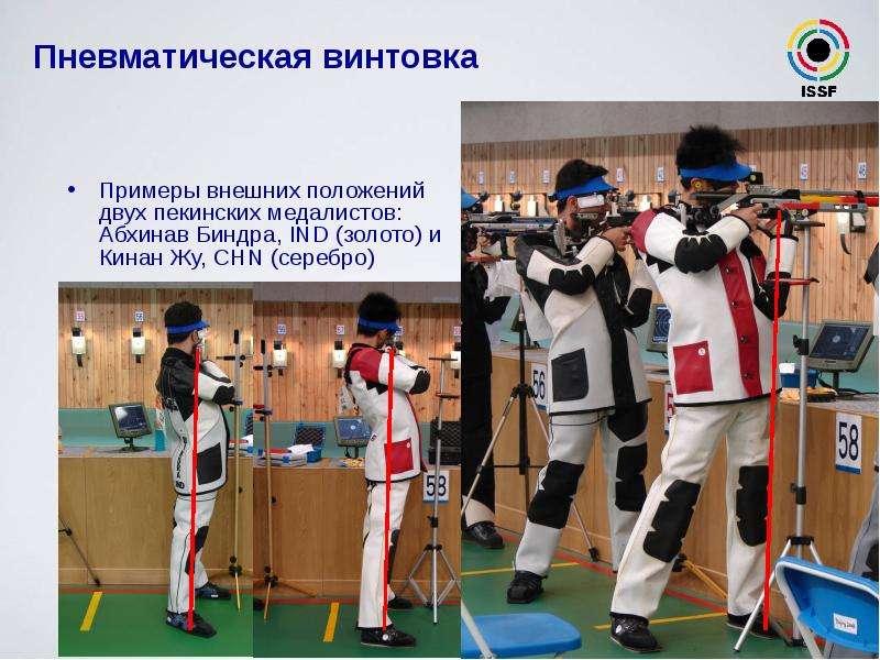 Пневматическая винтовка Примеры внешних положений двух пекинских медалистов: Абхинав Биндра, IND (зо