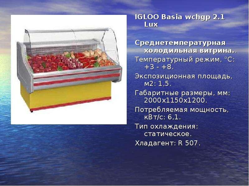 IGLOO Basia wchgp 2. 1 Lux IGLOO Basia wchgp 2. 1 Lux Среднетемпературная холодильная витрина. . Тем