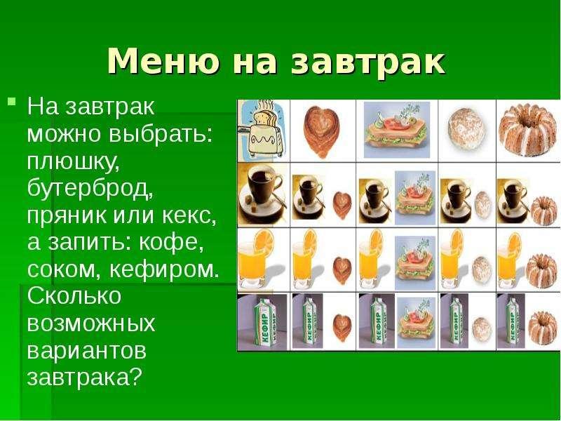 Меню на завтрак На завтрак можно выбрать: плюшку, бутерброд, пряник или кекс, а запить: кофе, соком,