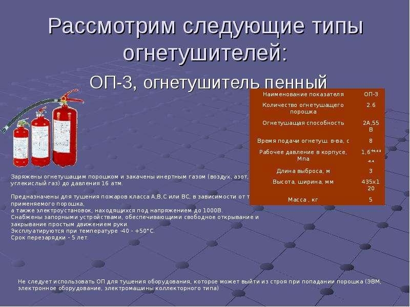 Рассмотрим следующие типы огнетушителей: ОП-3, огнетушитель пенный
