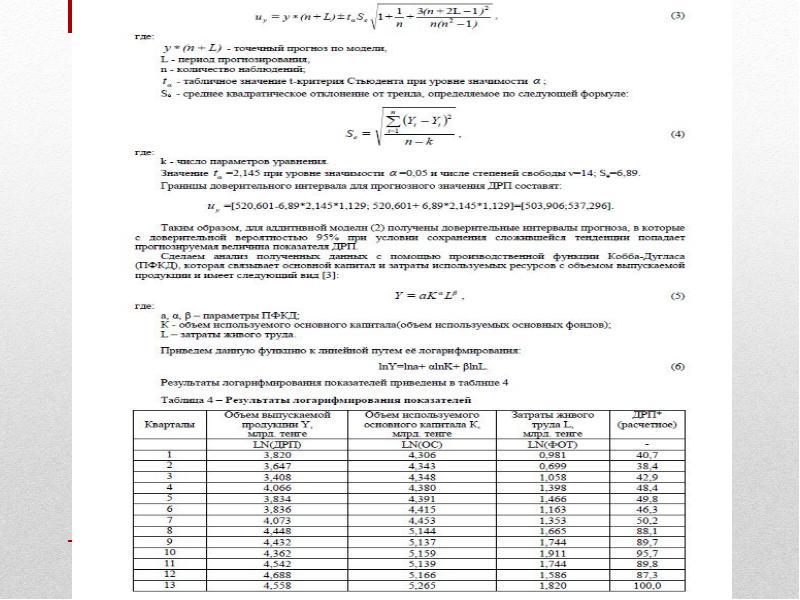 Эконометрические модели прогнозирования дохода от реализации продукции, слайд 9