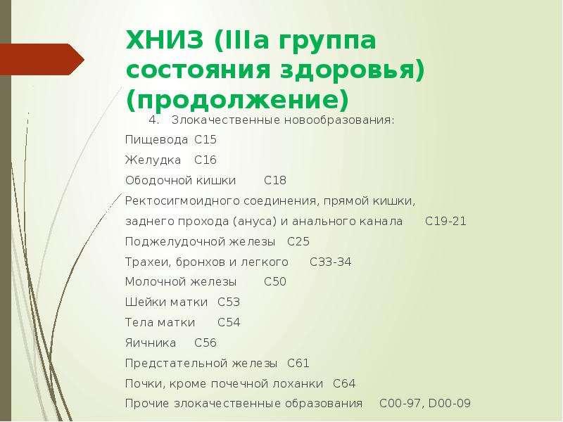 ХНИЗ (IIIa группа состояния здоровья) (продолжение) 4. Злокачественные новообразования: Пищевода С15