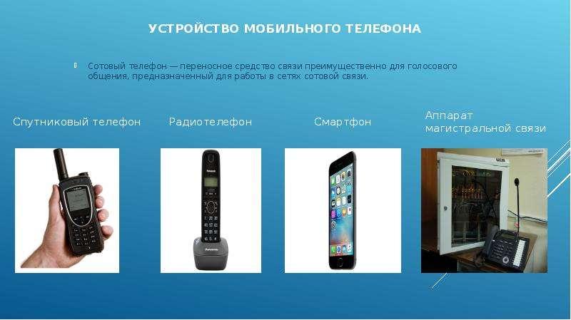 Устройство мобильного телефона Сотовый телефон — переносное средство связи преимущественно для голос