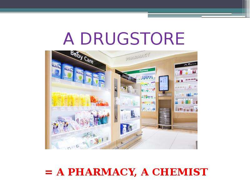 A DRUGSTORE  A PHARMACY, A CHEMIST