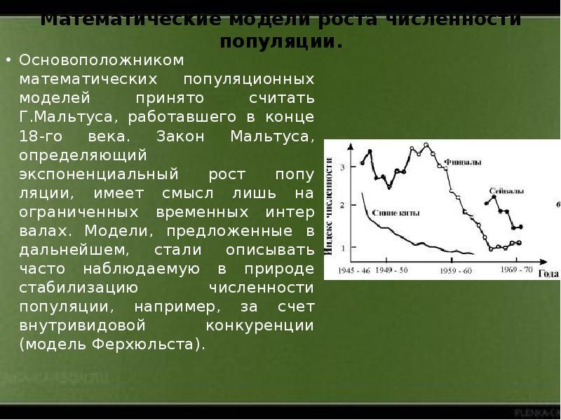 Математические модели роста численности популяции. Основоположником математических популяционных мод