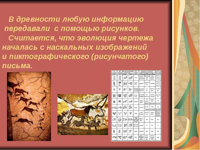 В древности любую информацию передавали с помощью рисунков. Считается, что эволюция чертежа началась