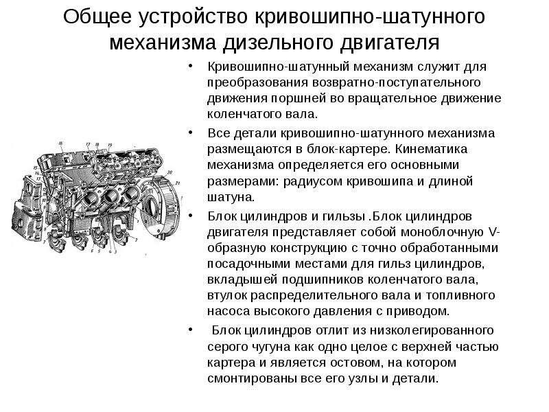 Общее устройство кривошипно-шатунного механизма дизельного двигателя Кривошипно-шатунный механизм сл