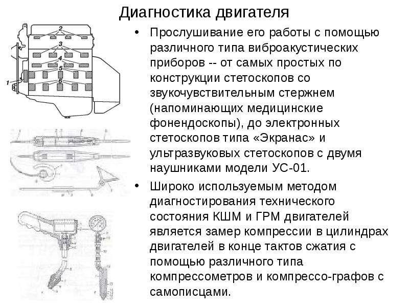 Диагностика двигателя Прослушивание его работы с помощью различного типа виброакустических приборов