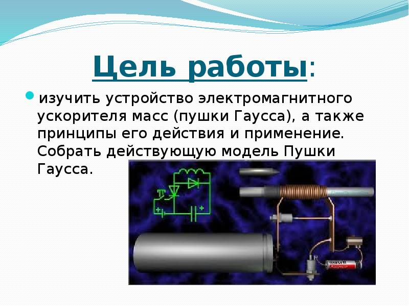 Цель работы: изучить устройство электромагнитного ускорителя масс (пушки Гаусса), а также принципы е