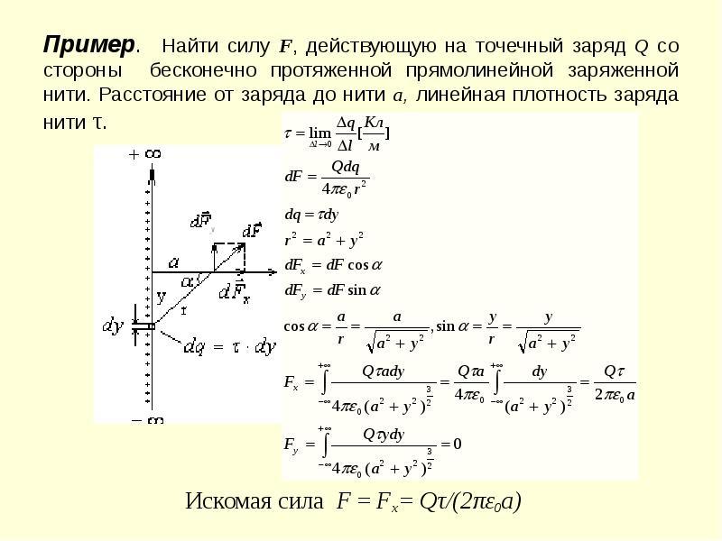 Пример. Найти силу F, действующую на точечный заряд Q со стороны бесконечно протяженной прямолинейно