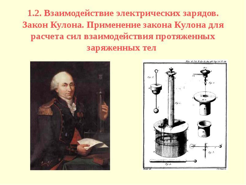 1. 2. Взаимодействие электрических зарядов. Закон Кулона. Применение закона Кулона для расчета сил в