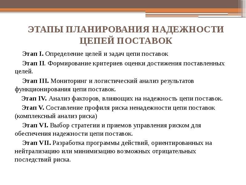 ЭТАПЫ ПЛАНИРОВАНИЯ НАДЕЖНОСТИ ЦЕПЕЙ ПОСТАВОК Этап I. Определение целей и задач цепи поставок Этап II