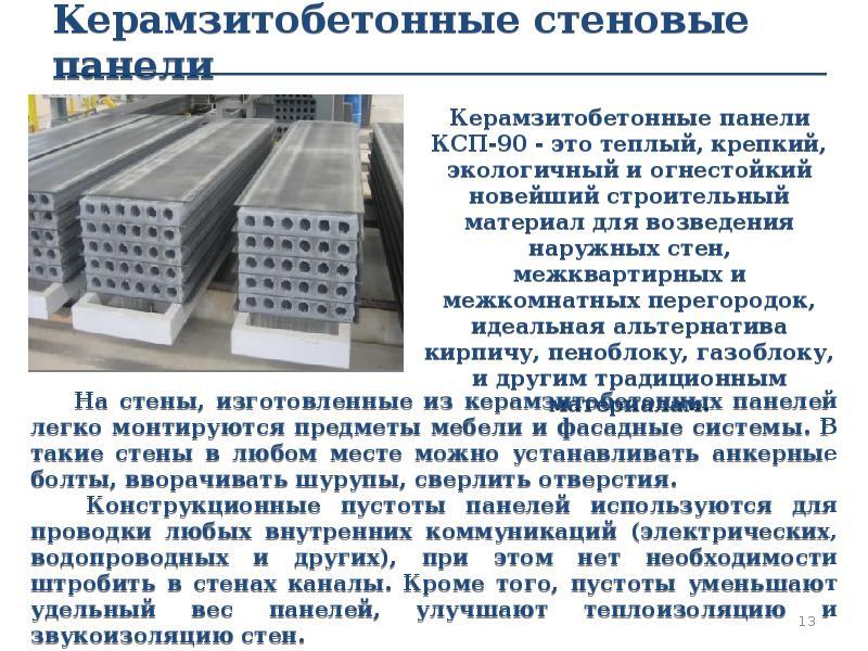 Керамзитобетонные стеновые панели Керамзитобетонные панели КСП-90 - это теплый, крепкий, экологичный