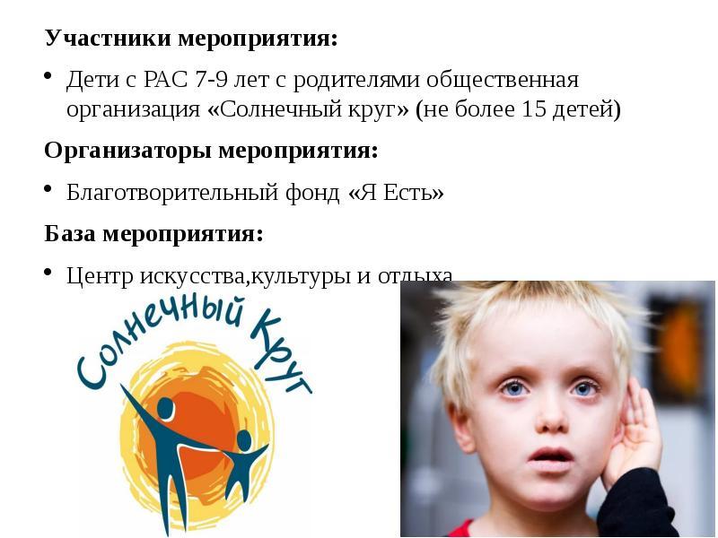 Участники мероприятия: Дети с РАС 7-9 лет с родителями общественная организация «Солнечный круг» (не