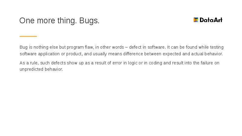 One more thing. Bugs. Bug is nothing else but program flaw, in other words – defect in software. It