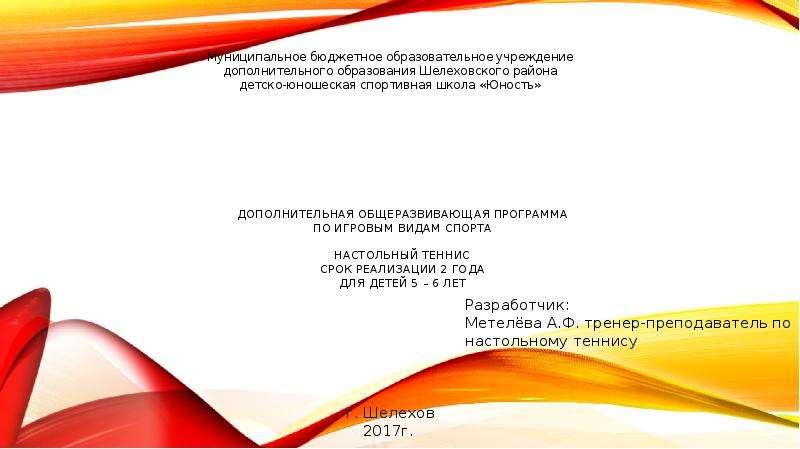 Презентация Дополнительная общеразвивающая программа по игровым видам спорта: настольный теннис