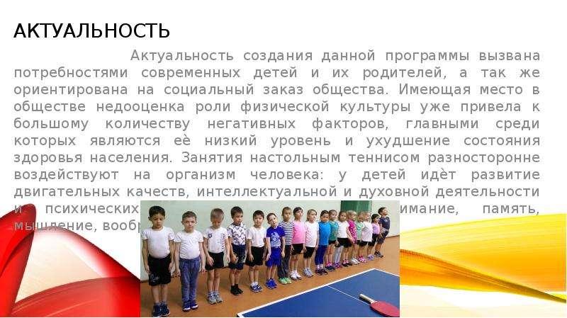 Актуальность Актуальность создания данной программы вызвана потребностями современных детей и их род
