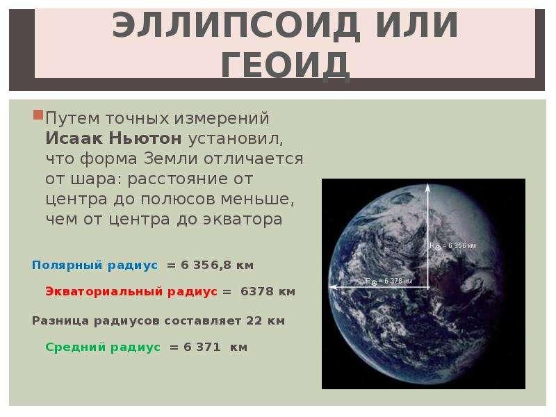 ЭЛЛИПСОИД ИЛИ ГЕОИД Путем точных измерений Исаак Ньютон установил, что форма Земли отличается от шар