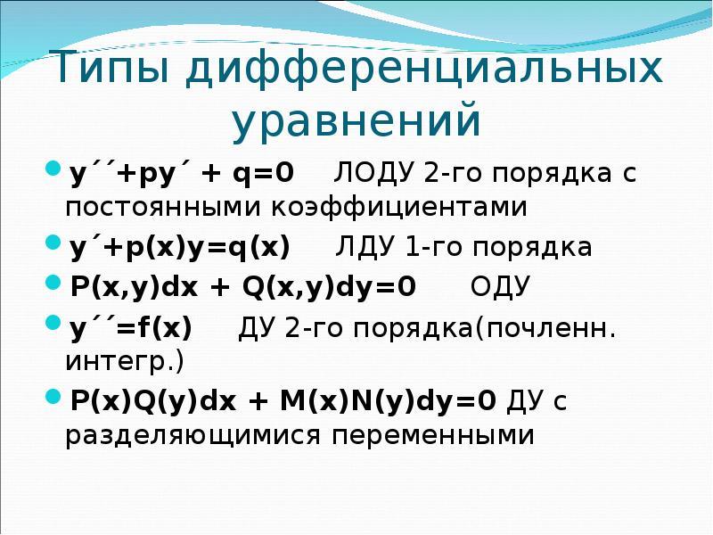 Типы дифференциальных уравнений у´´+ру´ + q=0 ЛОДУ 2-го порядка с постоянными коэффициентами у´+р(х)