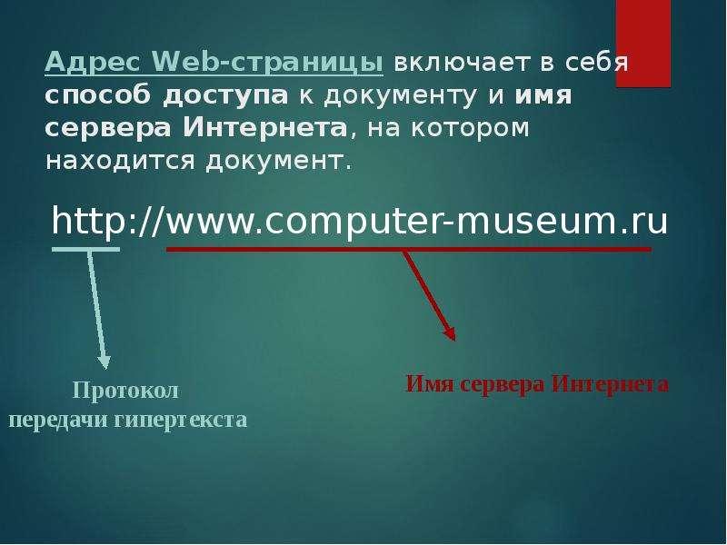 Адрес Web-страницы включает в себя способ доступа к документу и имя сервера Интернета, на котором на