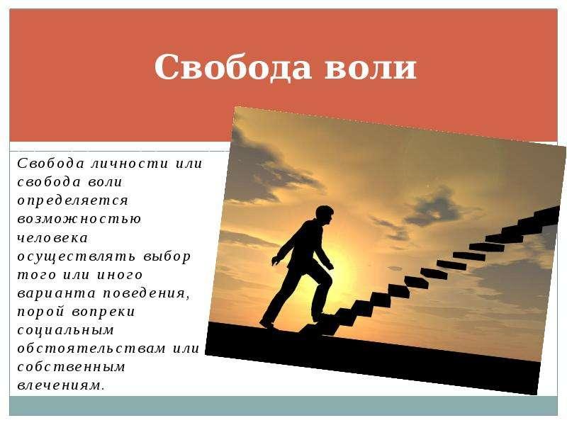 Свобода воли Свобода личности или свобода воли определяется возможностью человека осуществлять выбор