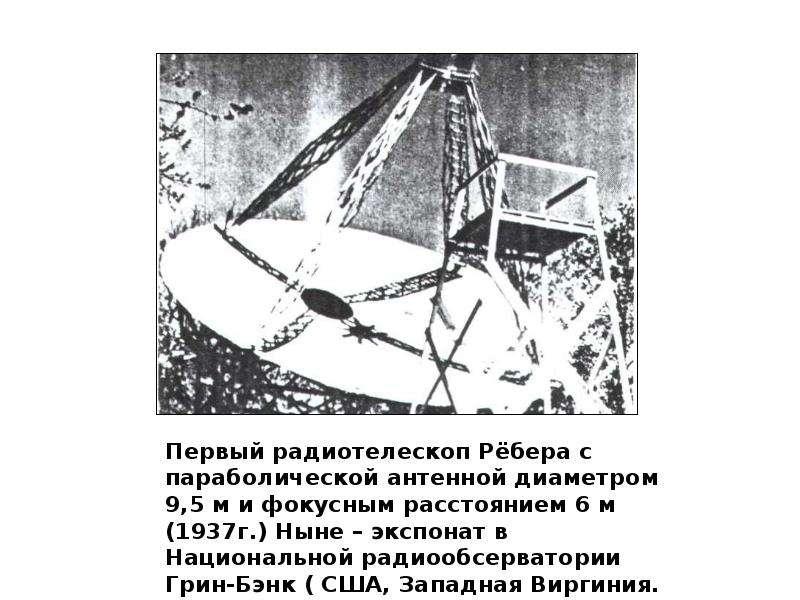 Первый радиотелескоп Рёбера с параболической антенной диаметром 9,5 м и фокусным расстоянием 6 м (19