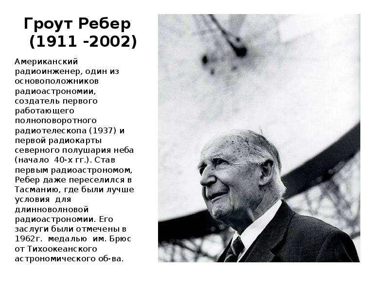 Гроут Ребер (1911 -2002) Американский радиоинженер, один из основоположников радиоастрономии, создат
