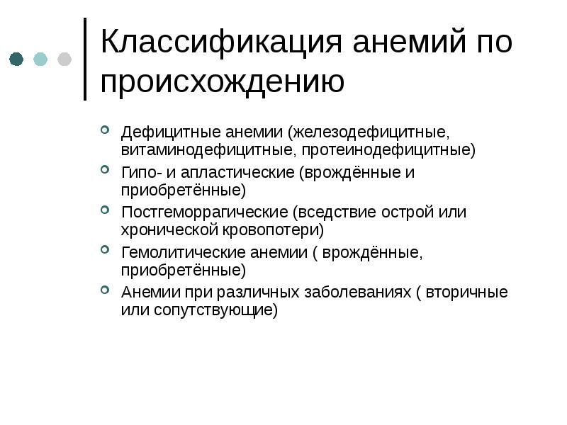 Классификация анемий по происхождению Дефицитные анемии (железодефицитные, витаминодефицитные, проте
