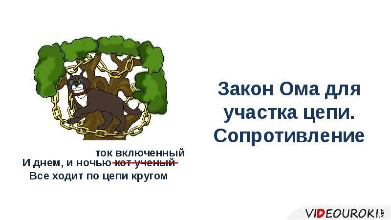 Презентация Закон Ома для участка цепи. Сопротивление