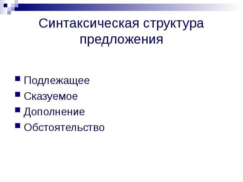 Синтаксическая структура предложения Подлежащее Сказуемое Дополнение Обстоятельство